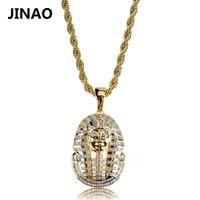 Cadeia Jinao Hip Hop Jóias para fora congelado cor do ouro banhado faraó egípcio Pingente Micro Pave Zircon encanto por Mulheres Homens CX200721