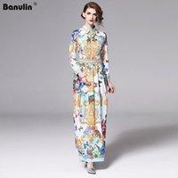 Banulin Pist Tasarımcı 2020 Bahar Tatili Maxi Elbise Bayan Long Sleeve Muhteşem Baskılı Vintage Uzun Gömlek Elbise Vestido