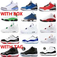 11 BASSA BAD BIANCO BLU Concord Men Donne 11s Scarpe da basket 4 Metalliche Arancione Rosso Viola 13 Flint Lucky Green Sneakers con scatola