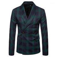 Плюс размер 4XL Верхняя одежда плед Printed Двойной Брестед пальто Mens 2020 Роскошная одежда Осень Зима Мужчины