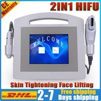 2in1 портативный Vmax HIFU v линия лифтинг лица ультразвуком на лице машины Hifu анти высокая интенсивность морщин уход красота сфокусированный ультразвук