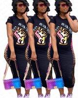 SİYAH Kısa Kollu T gömlek elbise Kadınlar BODYCON uzun Elbiseler İnce Seksi Tek Parça Etekler Elbise D71401 MADDE Mektupları Broken Delik LIVES