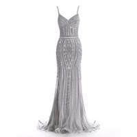 Kristal Kadınlar Abiye Spaghestti Kayış Mermaid Robes de Mariée Glitter Kılıf Örgün Elbiseler Lüks Gelin Resepsiyon Elbiseler