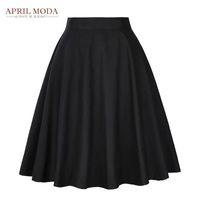 Élégant taille haute jupe plissée noire Longueur genou évasé Jupes Retro Vintage 50 Balancez Rockabilly Jupes Femmes Faldas Saia Jupe