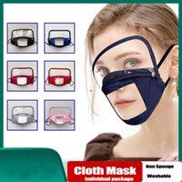 Stati Uniti Stock, Maschera di cotone antipolvere Bocca fronte di mascherina trasparente finestra visibile rimovibile Eye Shield antivento riutilizzabile lavabile per adulti bambini