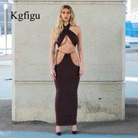 KGFIGU две частей 2020 Летние хлопкового ремень соответствие спинки сексуального недоуздок шея вырезанных топов и карандаш юбка оптовой цены