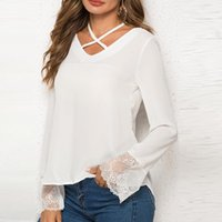 Женские блузки рубашки женские блузка лепесток рукава кружева лоскутная пэчворк сплошной цвет рубашки круглые шеи тонкие повседневные топы мягкие летние пружины плюс размер