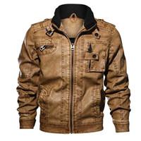 Vestes pour hommes Bomber PU cuir 2021 Automne Casual Business Manteau Multi-poche Moto Pilot Jacket 6XL 7XL