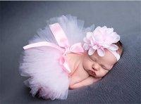 신생아 사진 소품 핑크 투투 스커트 머리띠 소녀 Skorts 수제 크로 셰 뜨개질 사진 소품 의상 복장 의류