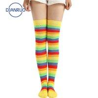 Calzini Hosiery Dianruo Multicolor Rainbow Arcobaleno Calze a strisce Donne lunghe Cute Cotton Coscia Alta maglia Ladies sopra il ginocchio Q90