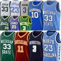 NCAA 23 مايكل نورث كارولينا جيرسي ألين ستيف إيفرسون ناش الفانيلة 7-23 Earvin لاري جونسون بيرد فانيس دينيس ريجي رودمان ميلر