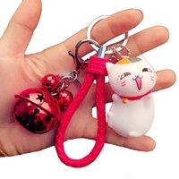 Neue Art und Weise kundenspezifische Karikatur-Katzen-Entwurf Schlüsselanhänger Weibliche nette Handgelenke mit Bell-Zubehör Beutel-Anhängern