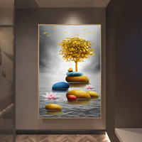 Modern Luxury Golden Art Ouro Pedra e Ouro Paisagem da árvore Pintura Wall Art Pictures para Living Room Home Decor (No Frame)