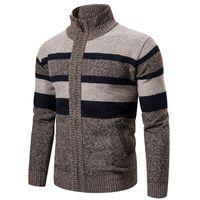 Desenhador Mens Malha blusas gola de lã inverno Brasão Jumper Zipper Cardigan camisola listrada Homens Sports Sweater revestimento pullover