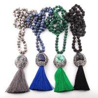 Collana etnica della Boemia di modo gioielli semi pietre preziose a lungo annodata naturale Druzy nappa Collana per le donne