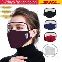 US STOCK Design Gesicht Maske mit Augen-Schild-waschbaren 2 Schichten Baumwolle Gesichtsmaske mit Slot Schutz Sicherheit Mundmasken Dhl Verschiffen FY9077
