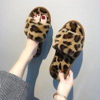 Bulanık Terlik Leopar Baskı Nokta Chinelos Kürsörler Ayakkabı Kabarık Terlik Peluş Terlik Kürk Slaytlar 2020 Pantoufle Femme Açık parmaklı