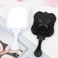 携帯用プラスチック探しのガラスの虚栄心照明ハンドルの小型ミラーの蝶スタイル化粧品の鏡黒白家庭用品1 75km B2