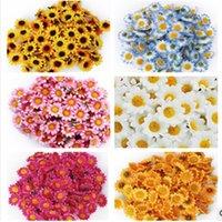 100pcs Petit Marguerites Heads Sun Flower soie artificielle fleur pour mariage Décor bricolage Couronne Cadeau Scrapbooking bricole