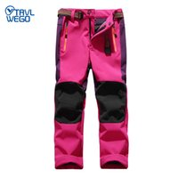 TRVLWEGO Skihose Wandern Camping Kinderwasserdicht Atmungs Winter-Vlies-Soft Shell dicker Schnee Hosen-Kind-Ski-Hose
