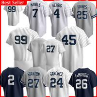 99 Aaron Judge 45 Gerrit Cole Jersey 2 Derek Jeter Sanchez 25 Gleyber Torres Don Mattingly DJ 42 Mariano Rivera Lemahieu Maglie da baseball