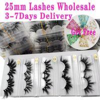 25mm de gros cils 30/50/100/200 paires de mignons 5D mink cils épais bandes cils rondes maquillage de maquillage de mink long mink cils en vrac