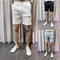 Demin Shorts d'été Pantalon Longueur du genou Mens Solid Color Pants Straight Homme Mens Shorts Streetstyle de Casual adolescents