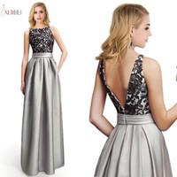 Babyonlinedress Silver Long Bridesmaid Dresses Elegant Lace Applique Wedding Party Guest Gown Sleeveless robe demoiselle d'honneur cps224
