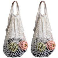100pcs String Shopping Bag DHL Shipping Reusable Supermarket Grocery Bag Shopping Mesh Net Woven Cotton Fruit Vegetables Bag for Shopping