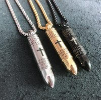 G3 Ordem misturada Marca novo aço inoxidável dos homens colares pingente de aço inoxidável colares cristão cruz pingentes de bala bíblia DGTD1137