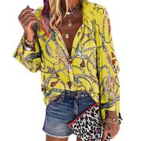 Yeni Desen Artı Boyutu Kadın Bluz V Yaka Uzun Kollu Zincirler Baskı Gevşek Casual Gömlek Bayan Üstleri ve Bluzlar