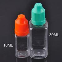 botellas de aceite de plástico vacías con la forma cuadrada de 10 ml 30 ml PET E botella de aceite líquido con el casquillo colorido a prueba de niños y puntas largas y delgadas