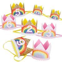 0-9 arc-en-fête d'anniversaire de la Couronne Chapeaux Garçon Fille enfants un an Princess Crown Bandeau baby shower 1er anniversaire Décor Party alimentation