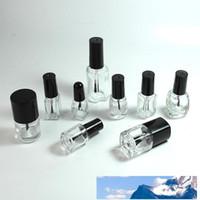 Vuotare chiaro Vetro Gelish smalto bottiglia di chiodo bottiglie di olio 5-8-10-12-15ml Quadrato rotondo con plastica nera Vite