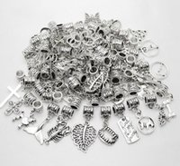 100 قطعة / الوحدة alloymixed خمر قلادة كبيرة ثقب الخرز صالح باندورا سحر أساور قلادة diy صنع المجوهرات