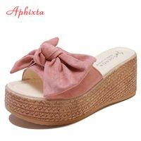 Aphixta 7cm or 9cm Summer Women Wedge Slippers Platform Appliques Bow Beach Antiskid Female Sandals Clog Shoes Slides Women