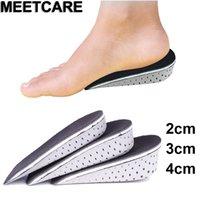 Aumento da altura Dentro de palmilhas invisível Metade Memory Foam Valgo ortopédico Pés Pad Elevador Foot Care fascite plantar Cushion