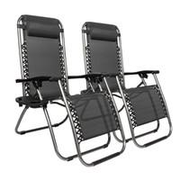 와코 2-PC 무중력 의자, Foldable 안락 의자 벤치, 안뜰 chaise 라운지 의자 야외, 매화 벚꽃 잠금 장치가 정원 발코니 풀 여행 휴대용 - 블랙