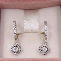 Authentic 925 Sterling Silver Studs Square Sparkle Hoop orecchini adatti gioielli in stile Pandora europeo Pandora 298503C01