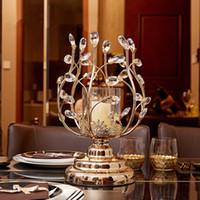 حاملي شمعة الكريستال Tealight المعادن الزجاج شمعدانات الزفاف الجدول محور عيد الميلاد المنزل الديكور