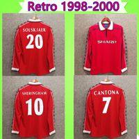 Manga comprida 1998 1999 Retro homem futebol jersey 98 99 vintage camisa de futebol clássico unido beckham cole solskjaer yorke utd manga completa 2000