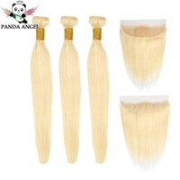 Panda recta 613 paquetes con frontal Malasia Remy 100% cabello humano 613 Blonde 3 paquetes con cierre frontal Extensiones de cabello