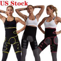 Stati Uniti Stock! Tummy della vita Shaper cinghia di neoprene tessuto della vita Trainer doppie cinghie di Cincher del corsetto Fitness Band Sweat Cintola Shapewear