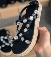 do designer Rhinestone Novos Produtos da Mulher Couro Platform Sandals Mulheres sandálias de verão e sandálias partido Chinelos Shoes