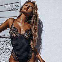 Comeonlover Spitze Bodysuits für Frauen plus Größe Striped Backless Bodysuit Schwarz Weiß Sommer Sexy Body Feminino Strampler