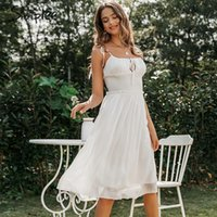 Casual Kleider Simplee Sleeveless Chiffon Weißes Kleid Tiefes V-Ausschnitt Backless Rüste Sommer Damen Chic Solid Holiday Party