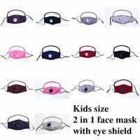 2 In 1 Kids Face Mask With Eye Shield Dustproof Washable Valve Mask Face Shield Cycling Reusable Filter Pocket Cotton Masks CYZ2494 200Pcs