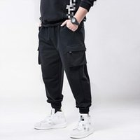 Januarysnow Spring Hip Hop Joggers Men Black шаровары Multi-карманные ленты Люди Sweatpants Streetwear вскользь Mens плюс размер 6XL 7XL