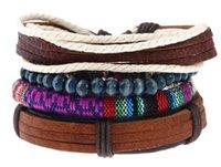 2020 la vendita calda della pelle bovina braccialetto intrecciato con perline di legno e corda di canapa degli uomini di dimensioni cuoio del braccialetto regolabile 4styles / 1set