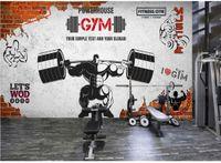 Individuelle Fototapeten für Wände 3d Gym Wandbilder Retro Mauer Muskel Sport Gym Club Bild Wandhintergrund Wand dekorative Tapeten